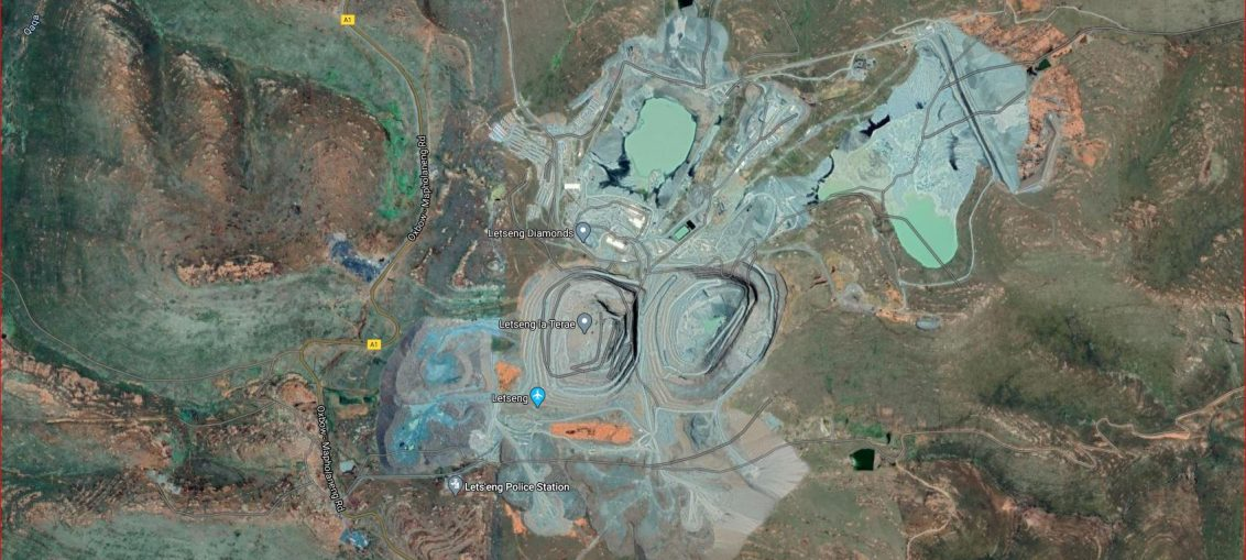 Satellite view of Lets'eng Diamond Mine